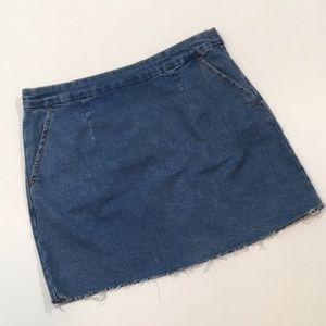 Forever 21 | Raw Hem Zip Denim Jean Mini Skirt
